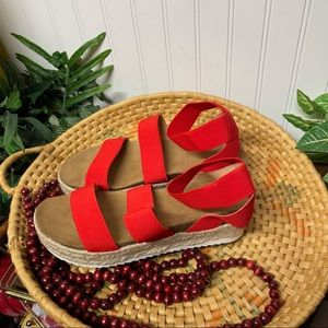 NWT Time and Tru Red espadrille sandal Size 8